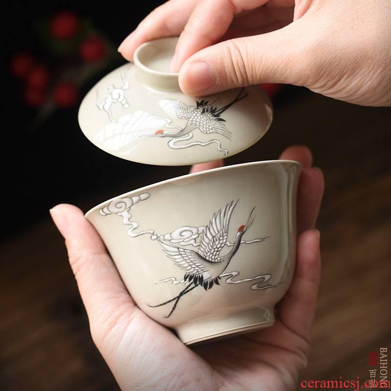 Hundred hong hand - made plant ash small tureen jingdezhen kung fu tea set new see cranes ceramic cups tea bowl
