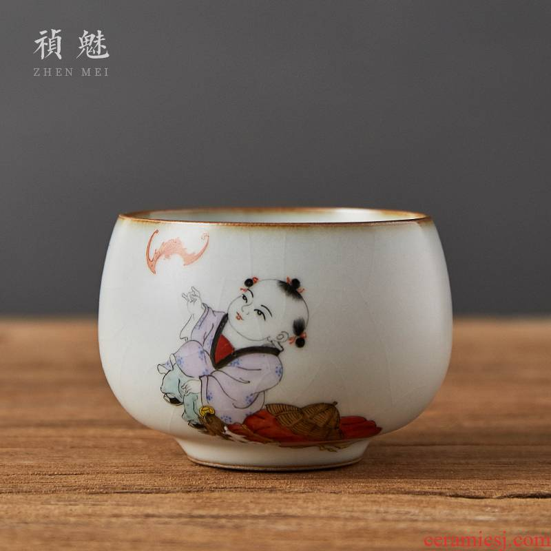 Shot incarnate the hand - made lad fortune your up open cup of jingdezhen ceramic kung fu tea set sample tea cup master cup single CPU