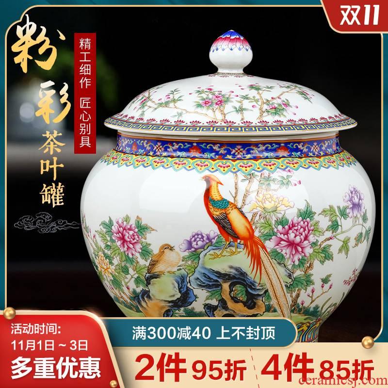 Jingdezhen ceramics with retro pu 'er tea pot large tea cake decoration with cover seal storage tank