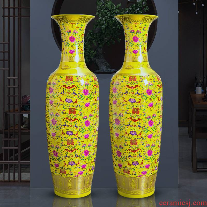 Jingdezhen ceramics China red vase landing extra large hotel opening gifts porcelain of sitting room adornment is placed