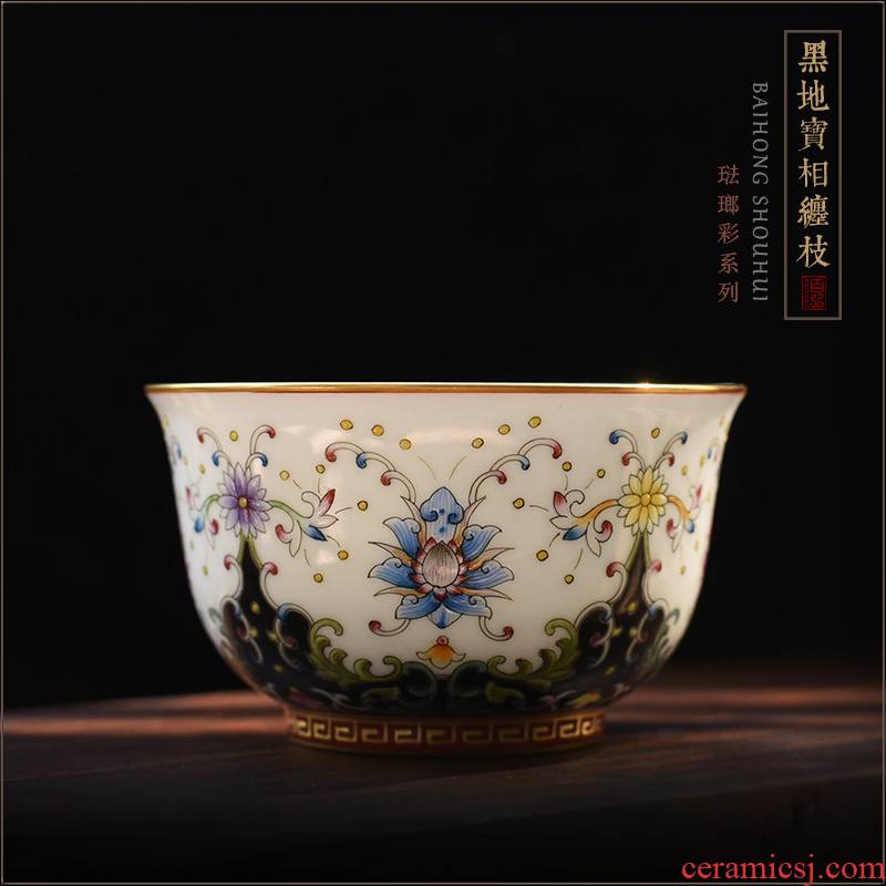 Hundred hong colored enamel masters cup single CPU jingdezhen hand cup black see colour treasure table sample tea cup