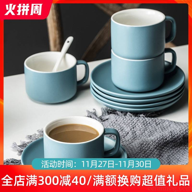 Nordic ceramic coffee cups and saucers, creative household contracted glass flower tea cups of milk a cup of afternoon tea coffee appliances