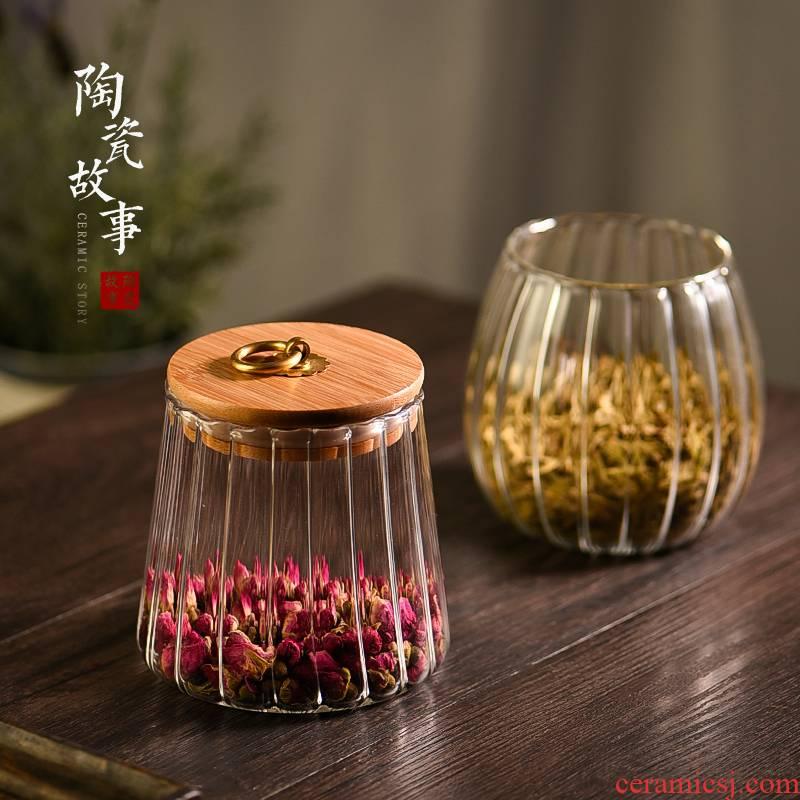 Caddy fixings glass ceramic story portable sealed tank tea tea accessories moistureproof tank household small storage tanks
