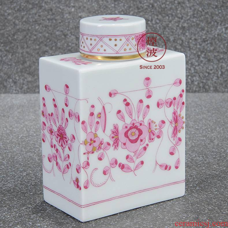German mason mason meisen porcelain new clipping pink flower India caddy fixings