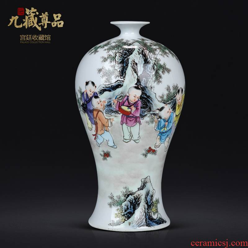Dong - Ming li master hand draw the lad vase of jingdezhen ceramics Chinese style living room TV cabinet porch is decorated furnishing articles