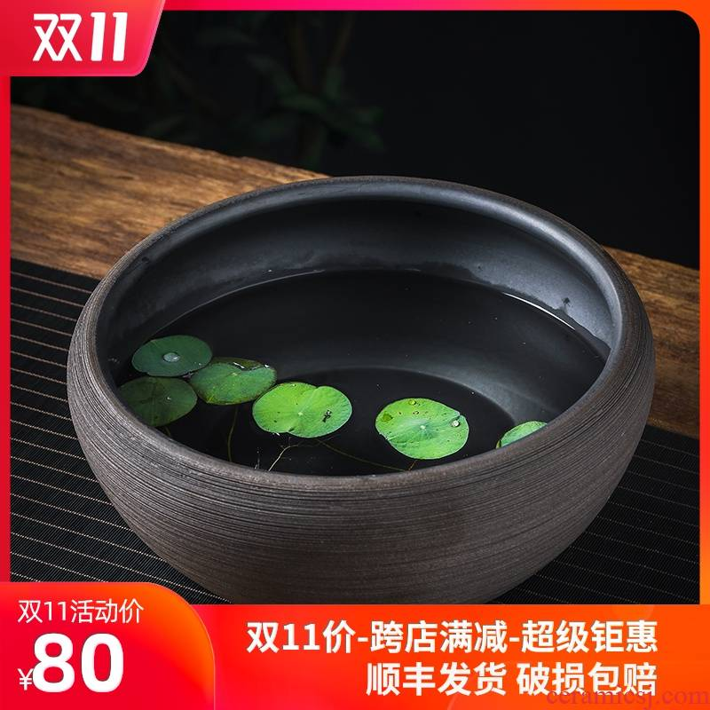 Ceramic aquarium sitting room small goldfish desktop office furnishing articles water lily lotus potted flower tortoise cylinder household to breed fish