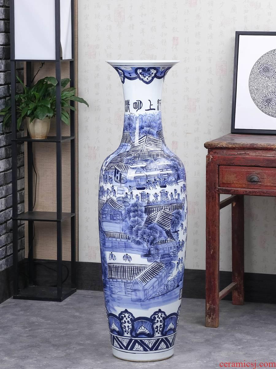 Jingdezhen ceramics large blue and white porcelain vase large sitting room of large vase furnishing articles of Chinese style household ornaments