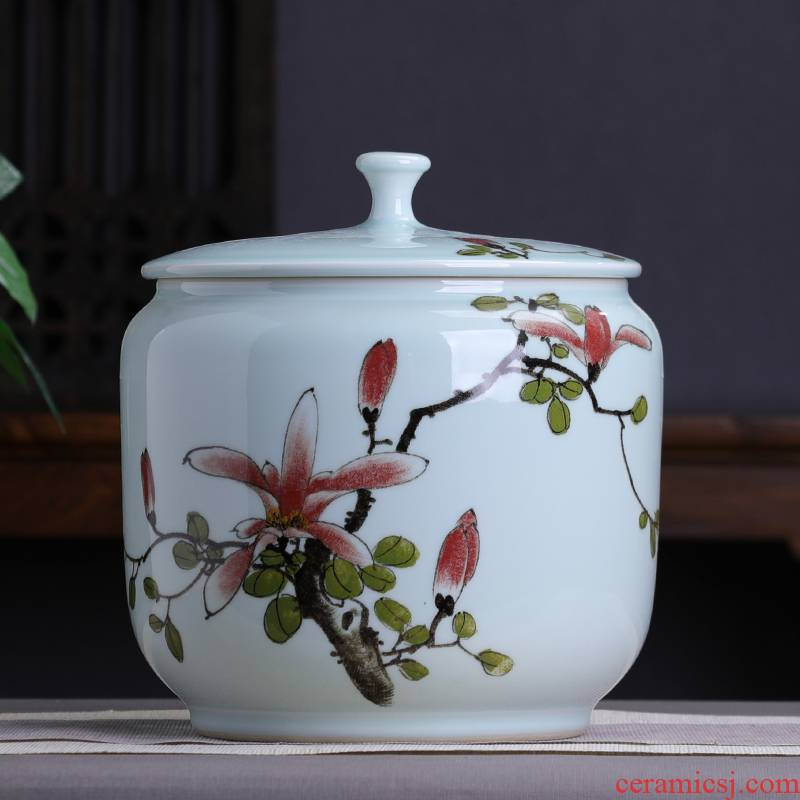 Hand draw yulan seven loaves ceramic tea pot large with cover seal pot moistureproof household puer tea cylinder large capacity
