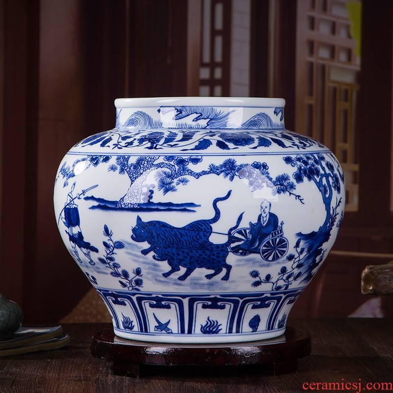 382 yuan blue and white guiguzi down the mountain famous jingdezhen ceramics hand - made master home decoration