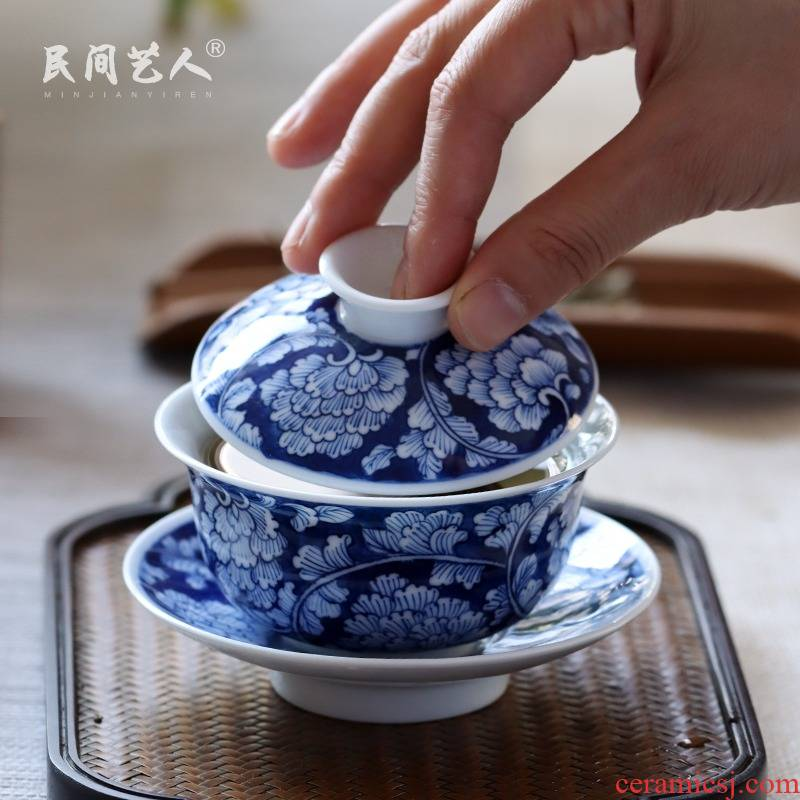 Hand - made tureen of blue and white porcelain of jingdezhen ceramic kung fu tea set three bowl of hot tea cup is no use