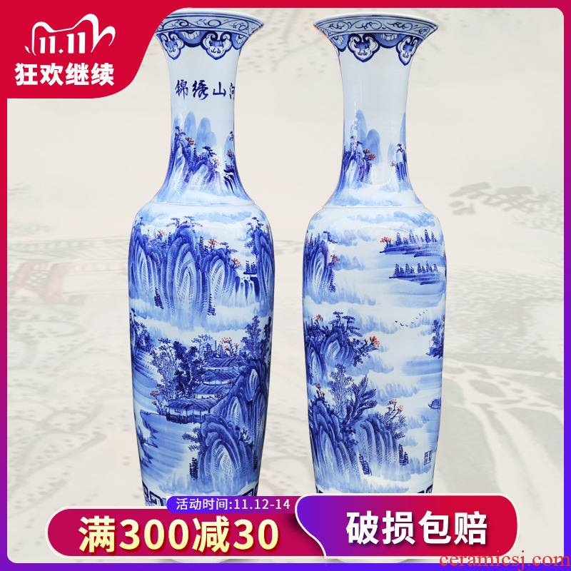 223 jingdezhen ceramic floor big hand blue and white porcelain vase splendid sunvo sitting room place hotel decoration