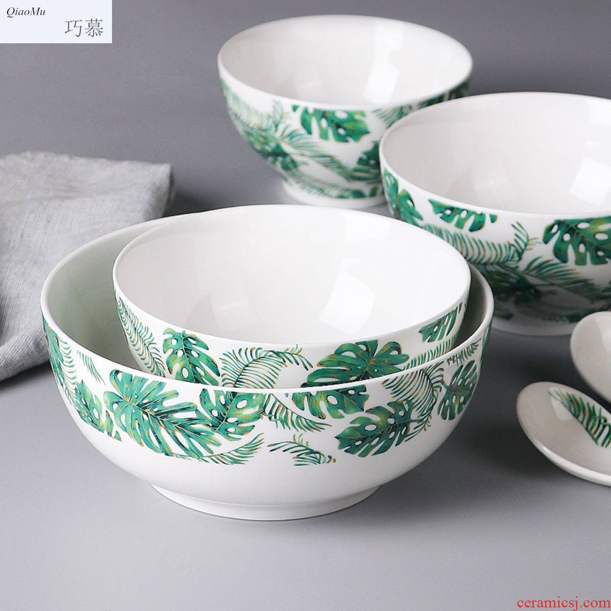 Qiao mu Chinese eat rice bowl household new ipads China tableware single creative small bowl of jingdezhen ceramic large - sized rainbow such use