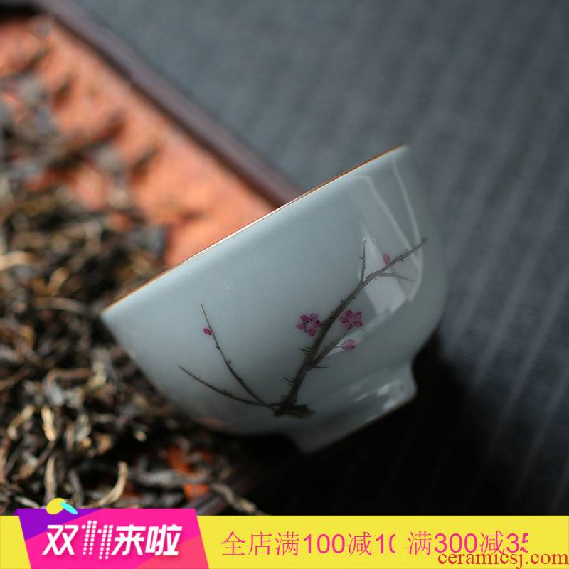 . Poly real boutique scene up glaze master cup single CPU kung fu tea cups of jingdezhen ceramic tea set hand - made sample tea cup
