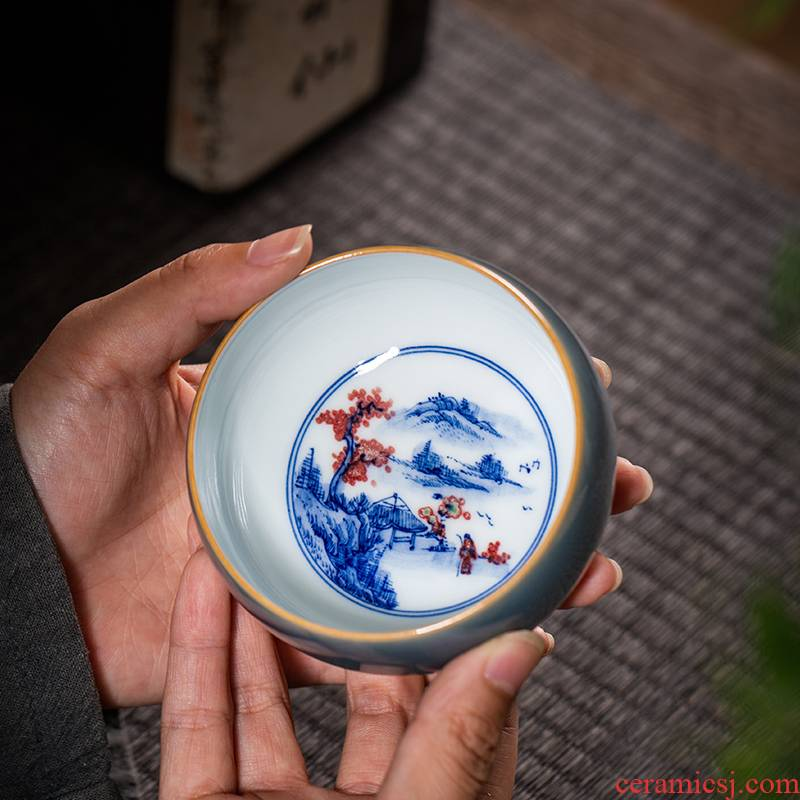 The Owl up jingdezhen tea master cup color blue and white youligong manual hand - made ceramic glaze painting of mountains and waters