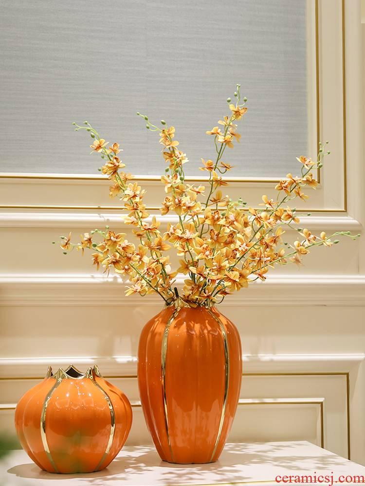 Light European - style key-2 luxury TV ark, wine cabinet mesa table vase simulation flower ceramic tea table sitting room office furnishing articles