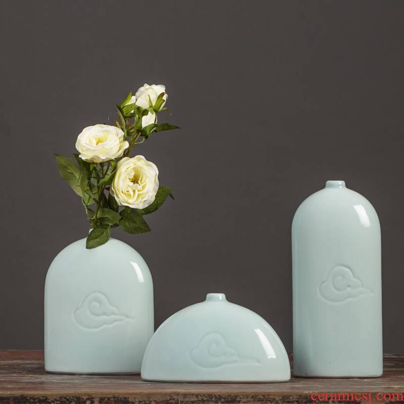 Jingdezhen ceramic flower flower art of shadow celadon porcelain porch place carving xiangyun dried flowers
