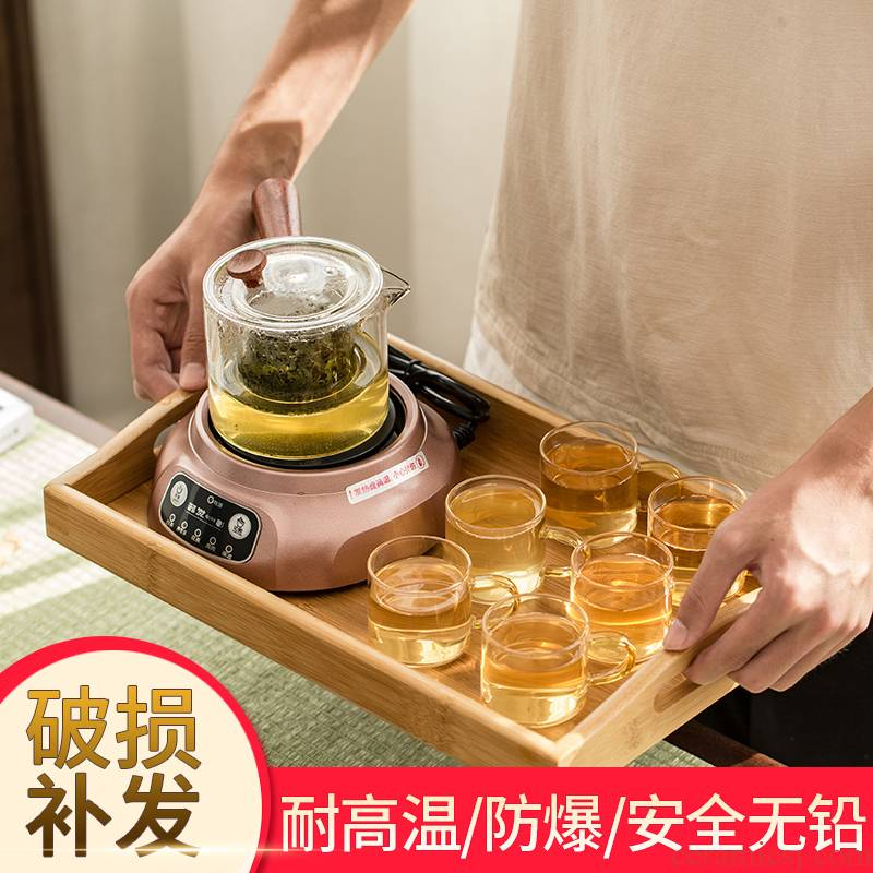 The Heat - resistant glass tea set electric TaoLu boiled tea, high temperature resistant scented tea elegant cups of household heating filtering the teapot