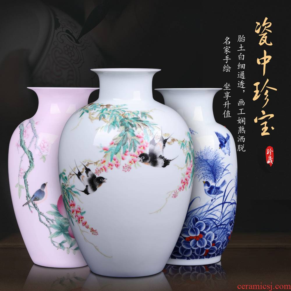 Jingdezhen hand - made ceramic vases, flower arranging furnishing articles of Chinese style vogue to live in rich ancient frame sitting room handicraft ornament