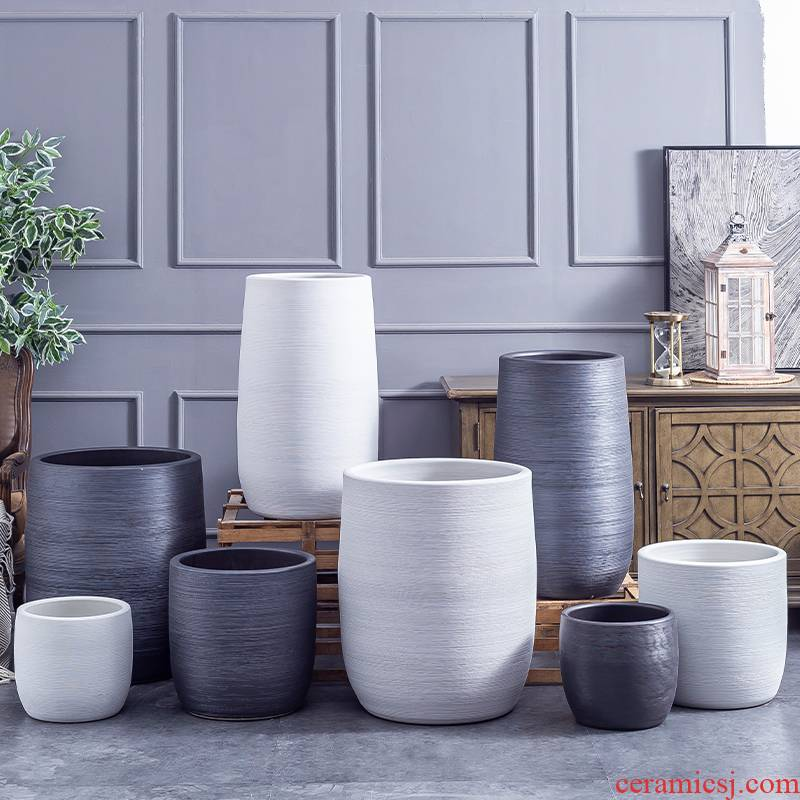 Large ceramic flower pot Nordic modern contracted villa decoration furnishing articles creative clay ceramic Large hydroponic plant POTS