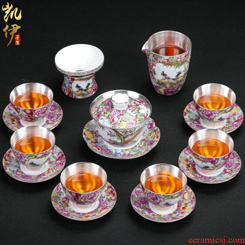 Spring scenery garden tasted silver gilding kung fu tea sets jingdezhen ceramic tea set silver home office tea tureen gifts