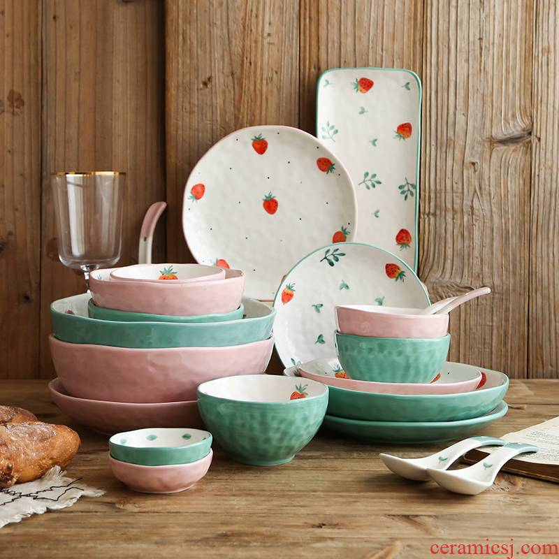 Li feng town strawberry tableware express girl bowl bowl suit consists of household ceramic package