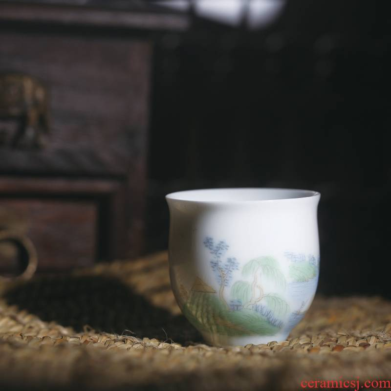 One thousand fire jingdezhen ceramic cups pastel landscape hand - made single small tea kungfu tea cup sample tea cup individual cup