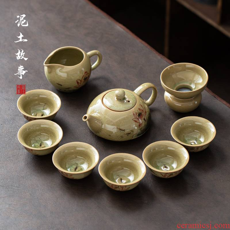 Ceramic hand - made tea set gift boxes of household contracted the up kung fu tea tea office whole sitting room