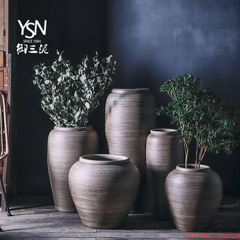 Sitting room coarse pottery urn landing large Chinese bottle arranging flowers restore ancient ways the balcony flowerpot three mud jingdezhen ceramic vase
