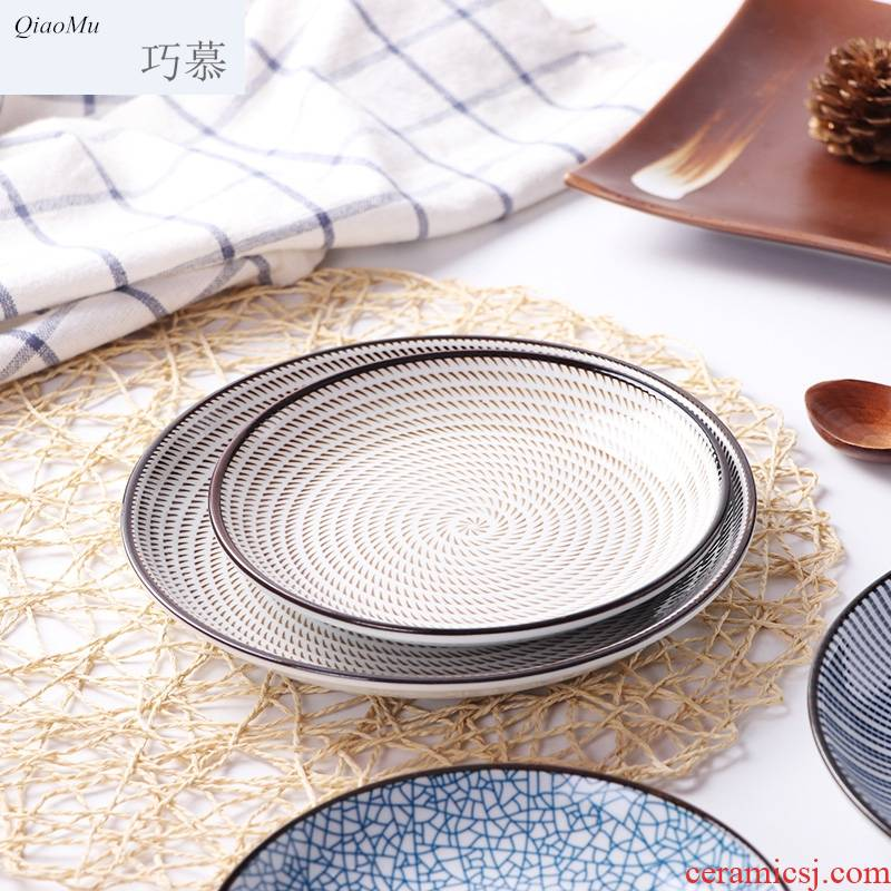 Qiao mu contracted under the glaze color of jingdezhen ceramic plate plate tableware suit creative dishes household Japanese side