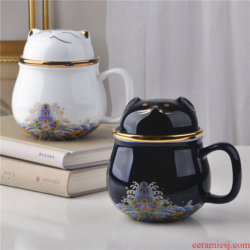 Jingdezhen ceramic cups porcelain cup office cup three - piece cup tea filter good cup