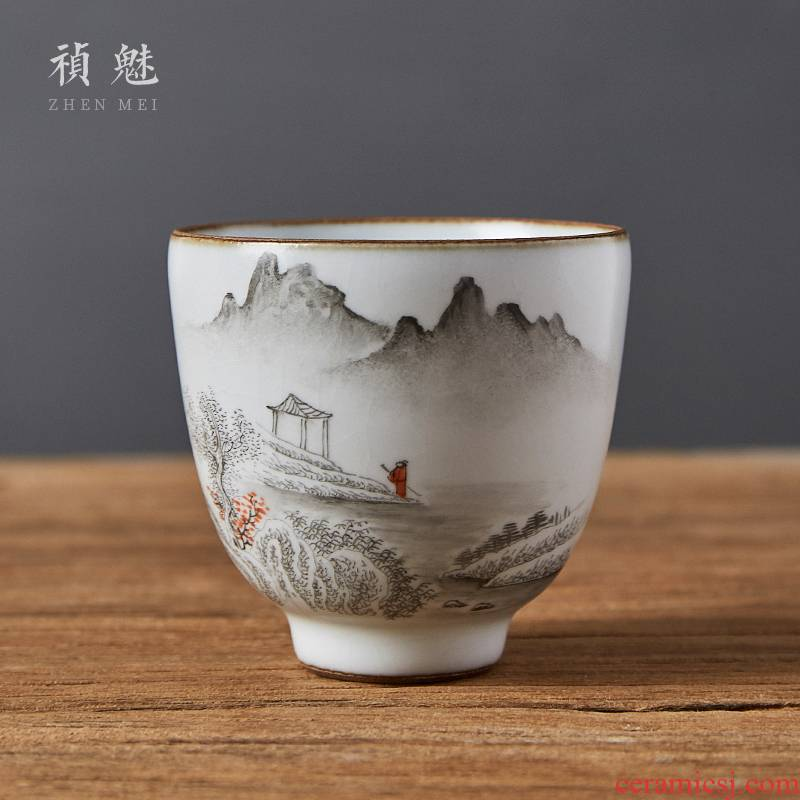 Shot incarnate your up hand - made ink landscape of jingdezhen ceramic kung fu tea set personal single sample tea cup cup masters cup
