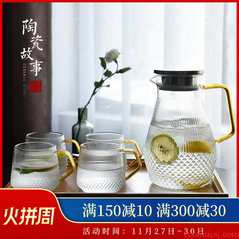 Ceramic cool story glass kettle high - temperature household super capacity thickening cold cold boiled water kettle cup suits for