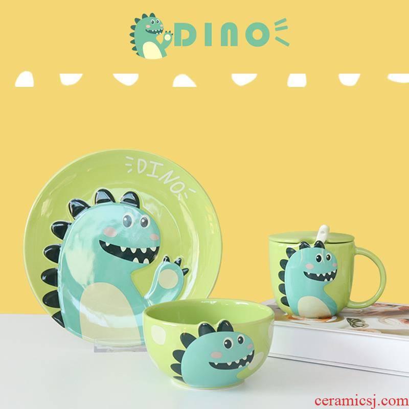 Dinosaur cartoon creative move plate combination suit cellular ceramic web celebrity dishes children breakfast tray
