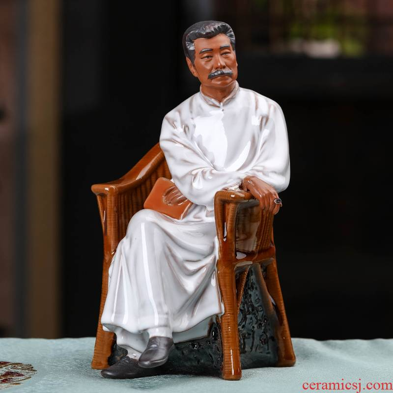 Jingdezhen ceramics lu xun character its modern study of Chinese style living room office decoration handicraft furnishing articles