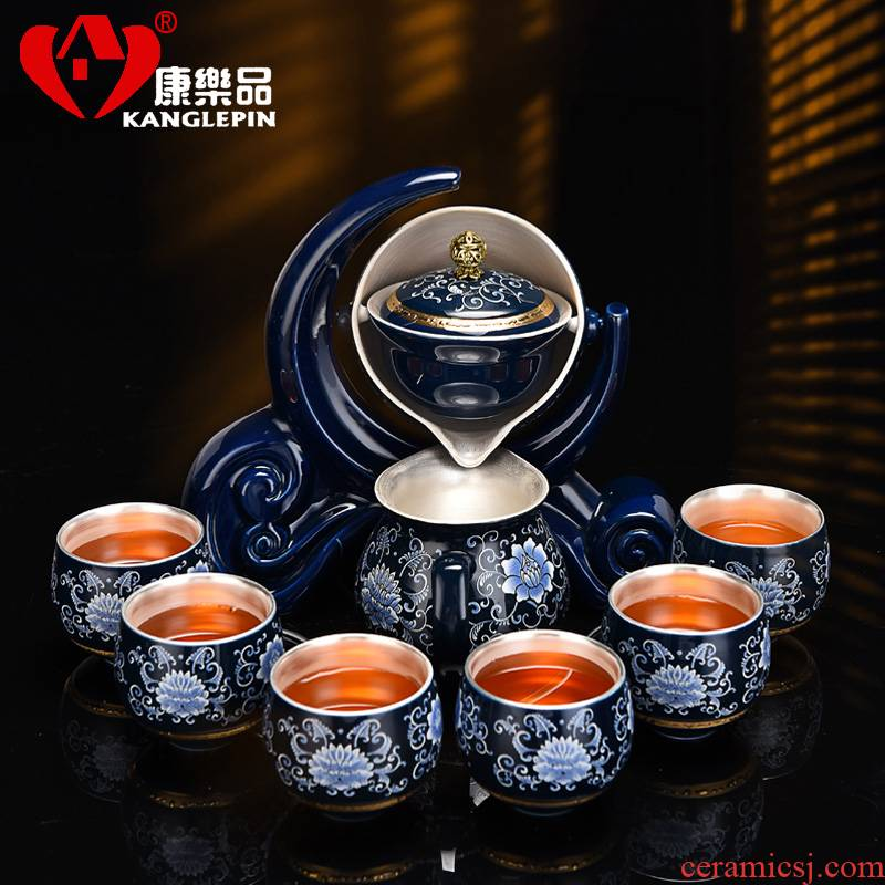 Recreational product automatic kung fu tea set flush pot of tea tasted silver gilding lazy person suits for home sitting room of jingdezhen tea service