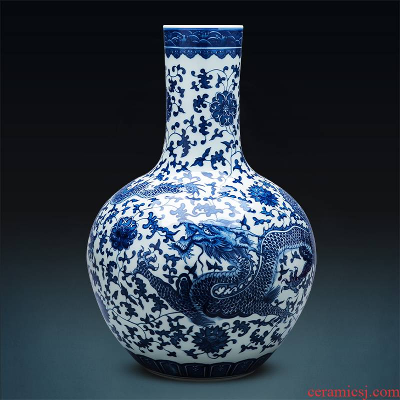 Large ground of blue and white porcelain vase imitation the qing classical jingdezhen ceramics home sitting room adornment flower arranging furnishing articles