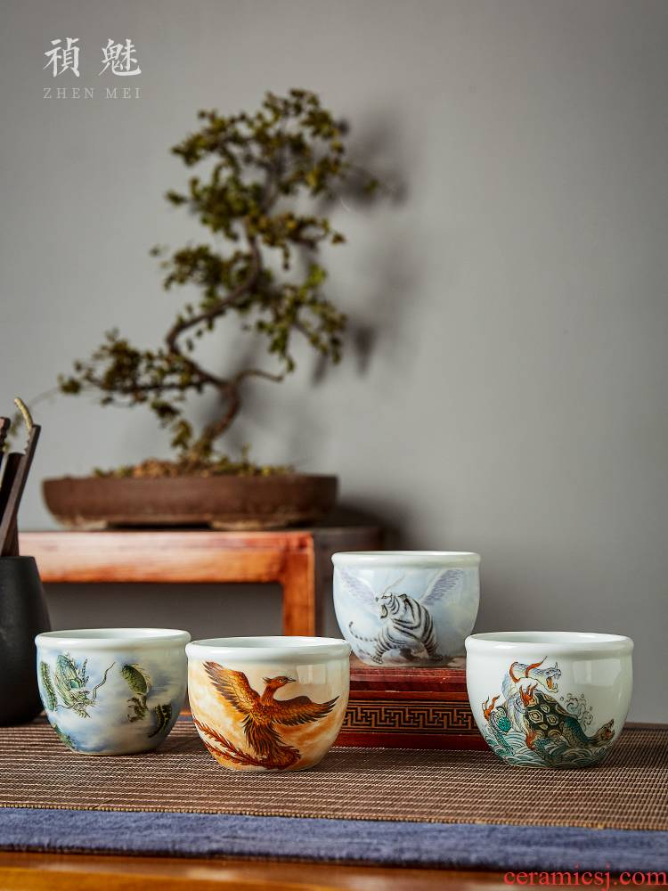Shot incarnate the four great god beast cylinder cup of jingdezhen ceramic hand - made kung fu tea master cup single CPU individual cup by hand