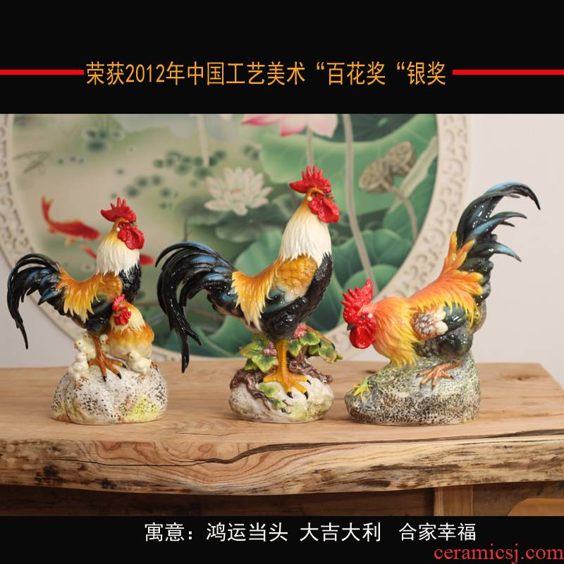 Jingdezhen made pottery big hen chicken family porcelain ceramic rooster China fierce rooster