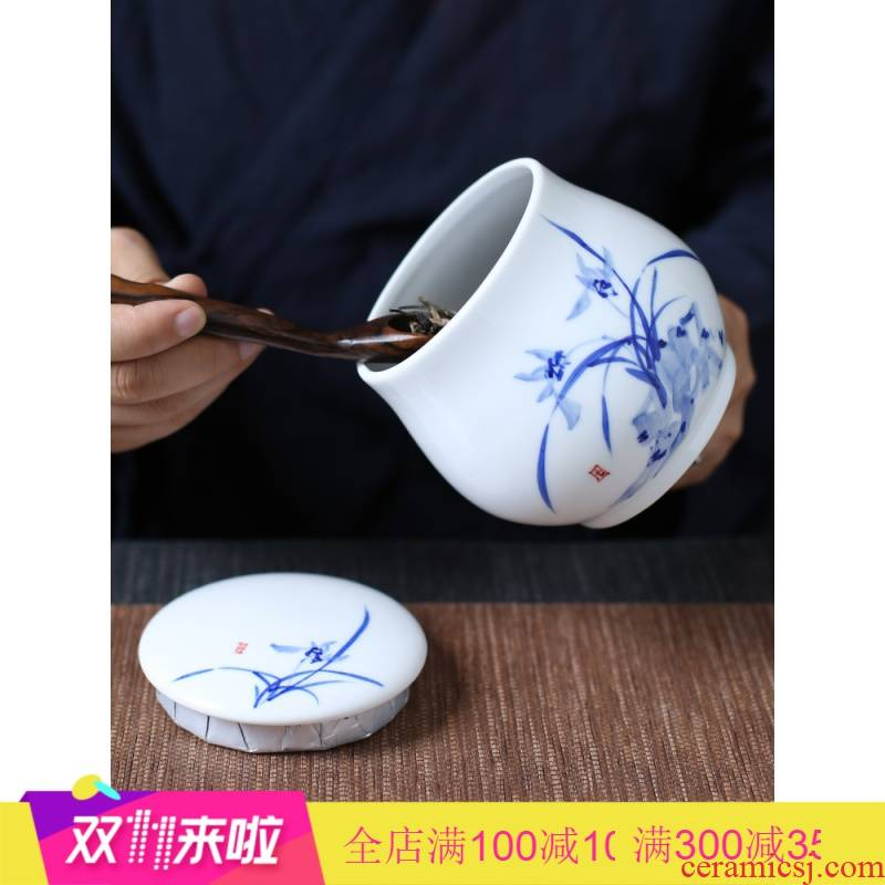 The Poly real scene caddy fixings ceramic seal tank of jingdezhen blue and white porcelain hand draw large storage containers packaging tea