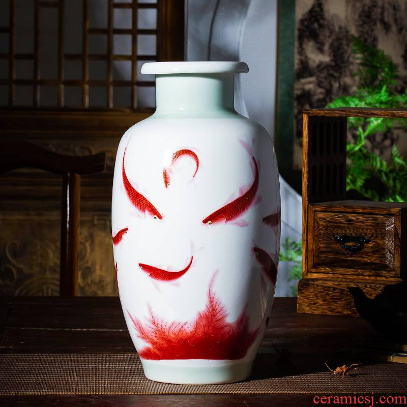 Jingdezhen ceramics powder enamel vase well - off Chinese penjing household act the role ofing is tasted rich ancient frame sitting room adornment