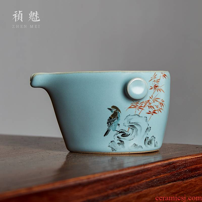Jingdezhen ceramic fair keller shot incarnate your up hand - made painting of flowers and birds in kung fu tea accessories imitation hot tea sea points