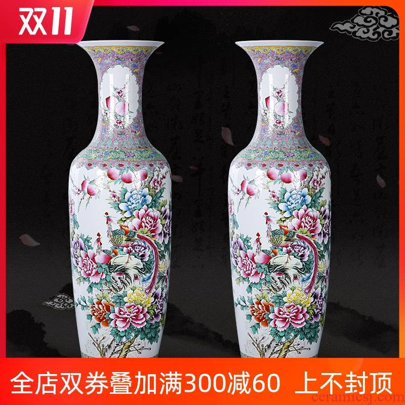 Jingdezhen ceramics landing large vases, hand - made pastel phoenix peony home furnishing articles furnishing articles Chinese style living room