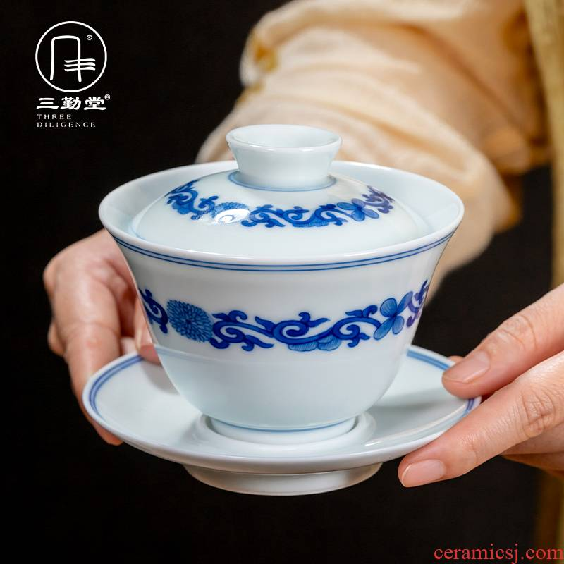 The three frequently tureen of jingdezhen ceramic cups kung fu tea tea hand - made thriving S13017