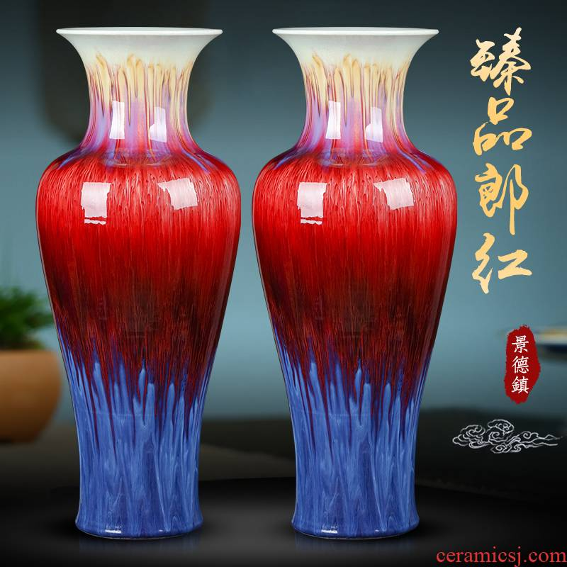 Jingdezhen ceramics big vase ruby red flower arrangement sitting room ground large opening of Chinese style household adornment furnishing articles