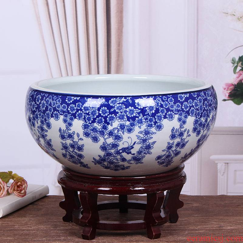 Jingdezhen ceramic aquarium package mail blue - and - white desktop furnishing articles large turtle pond lily goldfish bowl lotus feng shui basin