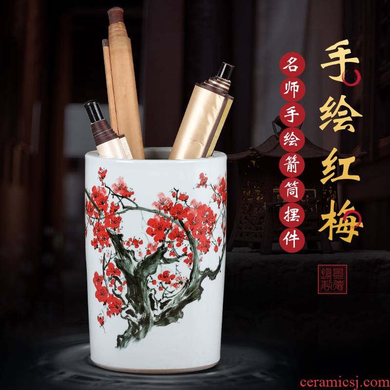 Jingdezhen ceramic vase large hand - made name plum flower painting and calligraphy scrolls cylinder paper receive instrumentation painting bottle of painting and calligraphy