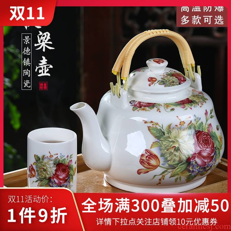 Jingdezhen ceramic teapot single pot of domestic large teapot old girder of blue and white porcelain pot of tea set high temperature to hold