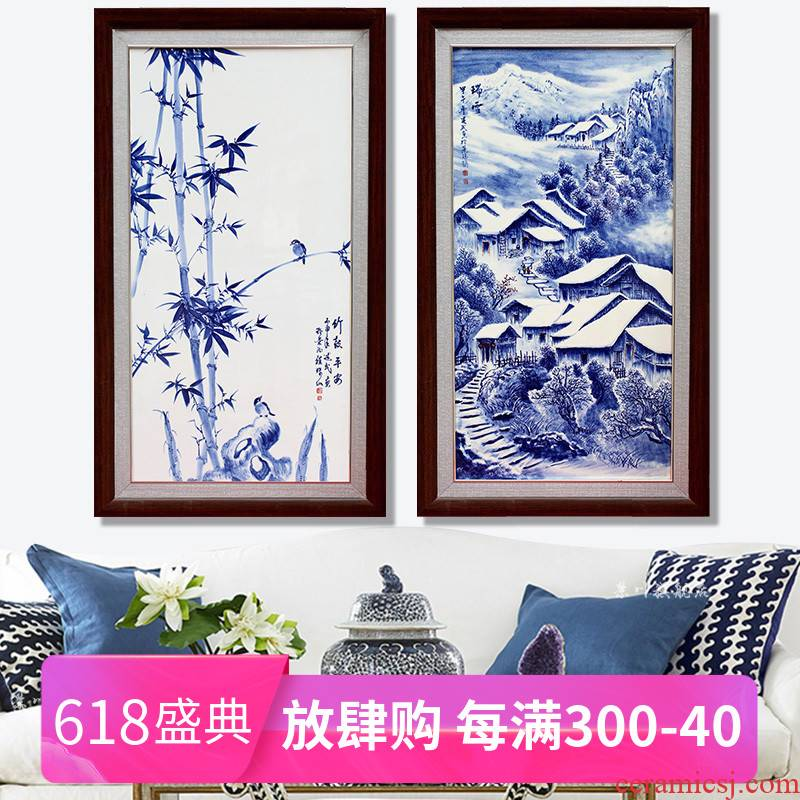 Jingdezhen ceramic painting hand - made porcelain plate painting the living room of the new Chinese style sofa setting wall study office decoration