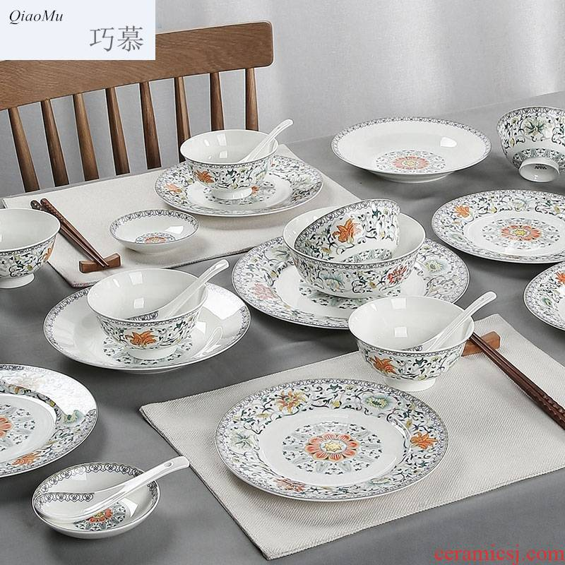 Qiao mu jingdezhen Chinese famille rose home use plate suit new ipads porcelain - glazed in dinner suit