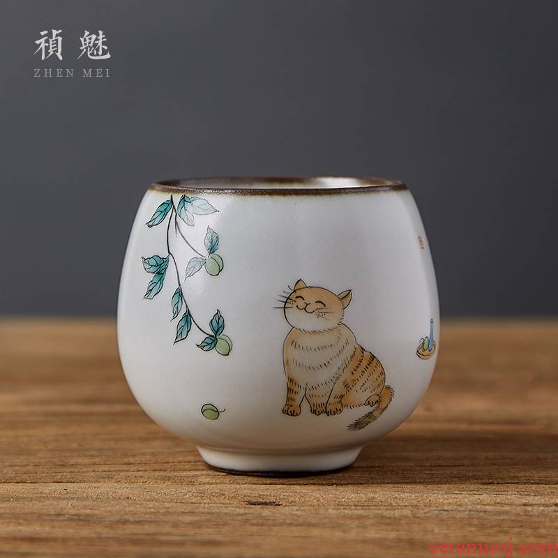Shot incarnate your up hand - made the cat jingdezhen ceramic cups kung fu tea master sample tea cup cup personal single CPU